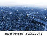 network connection and city...   Shutterstock . vector #561623041