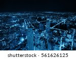 rooftop night view of new york... | Shutterstock . vector #561626125