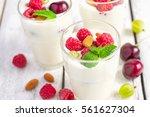 homemade yoghurt with seasonal... | Shutterstock . vector #561627304