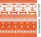 hippie vintage car a minivan... | Shutterstock .eps vector #561627787