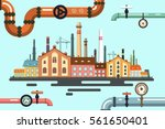 old factory with pipeline.... | Shutterstock .eps vector #561650401