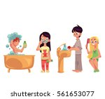 kids  children taking bath ... | Shutterstock .eps vector #561653077