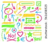 highlighter marks  strokes ... | Shutterstock .eps vector #561658525