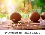 Freshly Picked Eggs On Wooden...