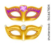 mardi gras carnaval golden mask ... | Shutterstock .eps vector #561667804