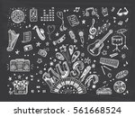 vector music icons set. hand... | Shutterstock .eps vector #561668524