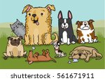 a pack of cartoon dogs with a...