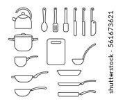 thin line set of cookware....   Shutterstock .eps vector #561673621