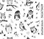 black and white vector cute... | Shutterstock .eps vector #561673639