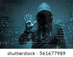 young hacker in data security... | Shutterstock . vector #561677989