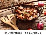traditional chicken curry roast ... | Shutterstock . vector #561678571
