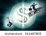 businessman on rocket flying... | Shutterstock . vector #561687805