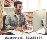 attractive afro american... | Shutterstock . vector #561688699
