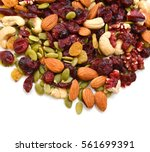 mix nuts  dry fruits and grapes ...   Shutterstock . vector #561699391