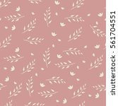 floral pattern in doodle style... | Shutterstock .eps vector #561704551