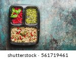 healthy lunch box with salad ... | Shutterstock . vector #561719461