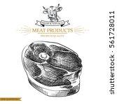 sketch meat steak on white...   Shutterstock .eps vector #561728011