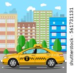urban cityscape with taxi cab.... | Shutterstock .eps vector #561731131