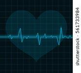 electrocardiogram. blue waves... | Shutterstock .eps vector #561733984