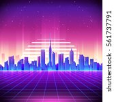 Stock vector  s retro sci fi background with night city skyline vector futuristic synth retro wave 561737791