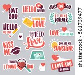 valentine day stickers and...   Shutterstock .eps vector #561739477