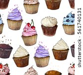pattern cupcakes line drawn on... | Shutterstock .eps vector #561740131