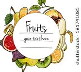 fruits drawn a color line on a... | Shutterstock .eps vector #561741085