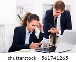 Small photo of boss man accusing upset woman to making business failure in firm office
