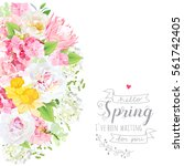 Stock vector sunny spring vector design card with white peony yellow daffodils protea pink hydrangea wild 561742405