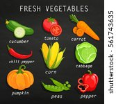 set of fresh vegetables.... | Shutterstock .eps vector #561743635