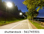 Bicycle Path At Night In The...