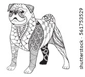 Stock vector pug dog zentangle stylized vector illustration freehand pencil hand drawn pattern zen art 561753529