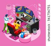 Video Game Pc Screen Nerd Girl...