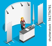 exhibition booth stand woman... | Shutterstock .eps vector #561756781