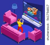 video game screen and gamer... | Shutterstock .eps vector #561756817