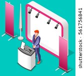 exhibition booth stand trade... | Shutterstock .eps vector #561756841