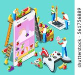 video game ux development. web... | Shutterstock .eps vector #561756889