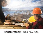 construction manager on the... | Shutterstock . vector #561762721