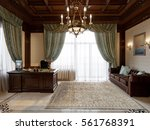 spacious dark wood home office... | Shutterstock . vector #561768391