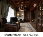 spacious dark wood home office...   Shutterstock . vector #561768451