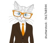 vector cute cat boy in elegant... | Shutterstock .eps vector #561768544