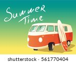 Retro Bus With Surfboard ...