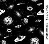 universe seamless pattern... | Shutterstock .eps vector #561777931