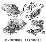 set of coffee beans in bag in... | Shutterstock .eps vector #561786457