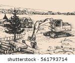 agriculture  rural village... | Shutterstock .eps vector #561793714