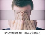 Small photo of Young man covers his face with his hands in grief or pain. Triptych