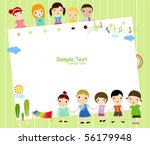 kids and frame music | Shutterstock .eps vector #56179948