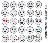 outline emoji icons isolated on ... | Shutterstock .eps vector #561804511