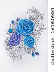 sketch of beautiful blue roses... | Shutterstock . vector #561809881
