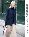 Small photo of PARIS-OCTOBER 4, 2016. Dutch trend-watcher Linda Tol is on her way to a fashion show during Paris fashion week. Ready to wear.
